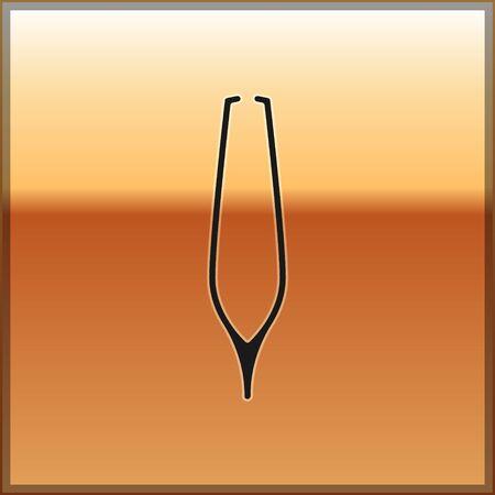 Black Eyebrow tweezers icon isolated on gold background. Cosmetic tweezers for ingrown hair. Vector Illustration