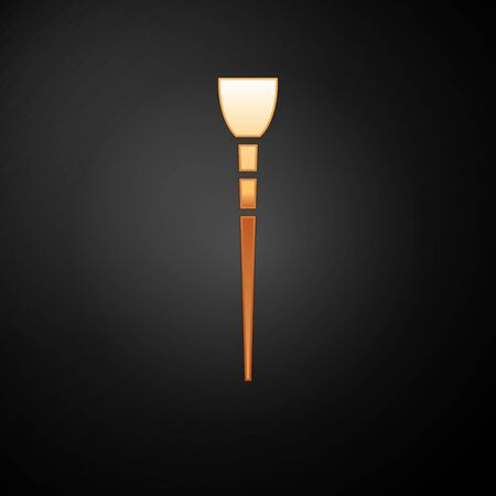 Gold Makeup brush icon isolated on black background.  Vector Illustration