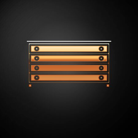 Gold Chest of drawers icon isolated on black background. Vector Illustration