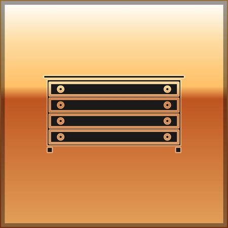 Black Chest of drawers icon isolated on gold background. Vector Illustration