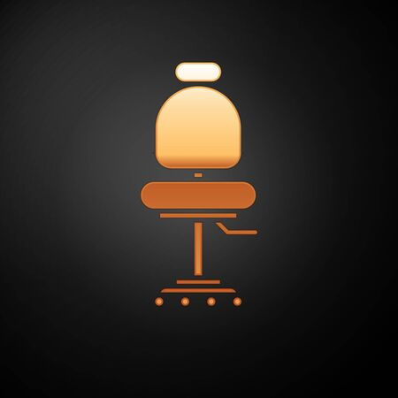 Gold Office chair icon isolated on black background. Vector Illustration