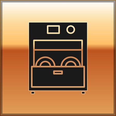 Black Kitchen dishwasher machine icon isolated on gold background. Vector Illustration