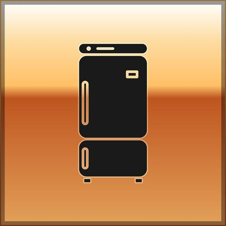 Black Refrigerator icon isolated on gold background. Fridge freezer refrigerator. Household tech and appliances. Vector Illustration