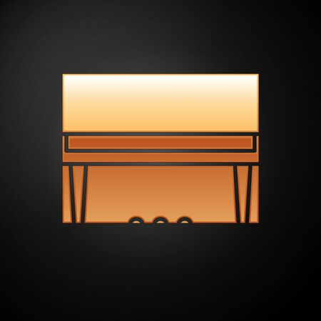 Gold Grand piano icon isolated on black background. Musical instrument. Vector Illustration