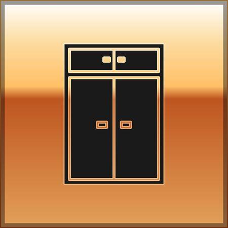 Black Wardrobe icon isolated on gold background. Vector Illustration