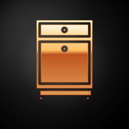 Gold Furniture nightstand icon isolated on black background. Vector Illustration Ilustração