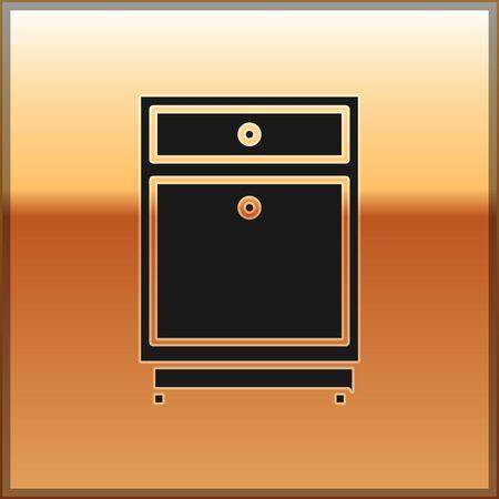 Black Furniture nightstand icon isolated on gold background. Vector Illustration Ilustração