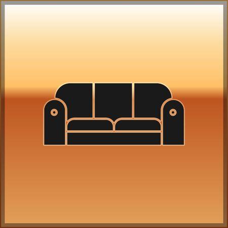 Black Sofa icon isolated on gold background. Vector Illustration