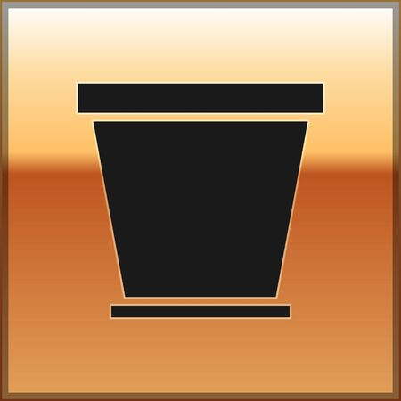 Black Flower pot icon isolated on gold background. Vector Illustration