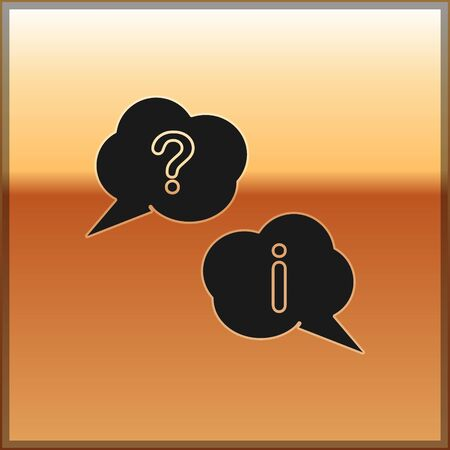 Black Speech bubbles with Question and Exclamation icon isolated on gold background. FAQ sign. Copy files, chat speech bubble and chart. Vector Illustration Ilustracja