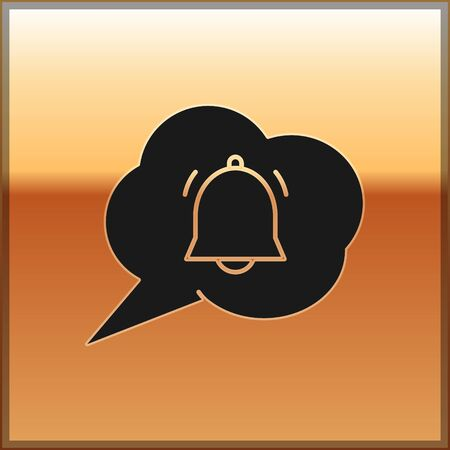 Black Speech bubble with chat notification icon isolated on gold background. New message, dialog, chat, social network notification. Vector Illustration Ilustracja