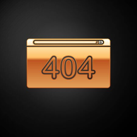 Gold Page with a 404 error icon isolated on black background. Template reports that the page is not found. Vector Illustration Иллюстрация