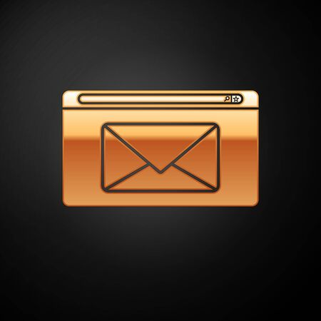 Gold Mail and e-mail icon isolated on black background. Envelope symbol e-mail. Email message sign. Vector Illustration