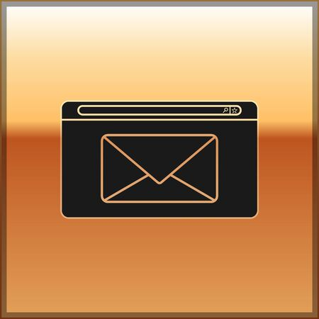 Black Mail and e-mail icon isolated on gold background. Envelope symbol e-mail. Email message sign. Vector Illustration 일러스트