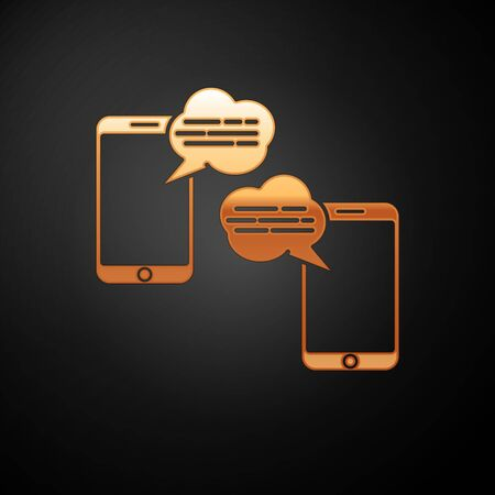 Gold New chat messages notification on phone icon isolated on black background. Smartphone chatting sms messages speech bubbles. Vector Illustration Ilustracja