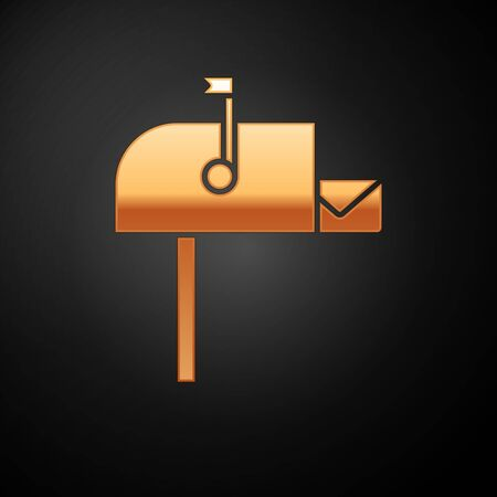 Gold Open mail box icon isolated on black background. Mailbox icon. Mail postbox on pole with flag. Vector Illustration