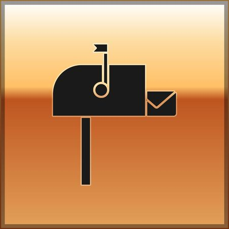 Black Open mail box icon isolated on gold background. Mailbox icon. Mail postbox on pole with flag. Vector Illustration 일러스트