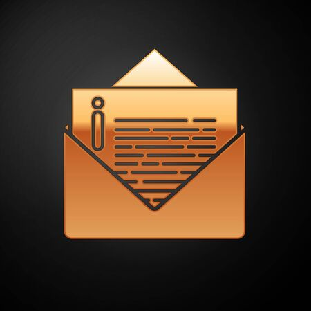 Gold Envelope icon isolated on black background. Email message letter symbol. Vector Illustration