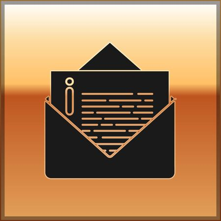 Black Envelope icon isolated on gold background. Email message letter symbol. Vector Illustration 일러스트
