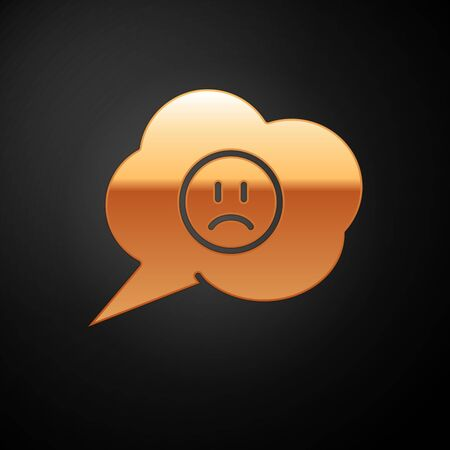Gold Speech bubble with sad smile icon isolated on black background. Emoticon face. Vector Illustration