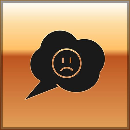 Black Speech bubble with sad smile icon isolated on gold background. Emoticon face. Vector Illustration