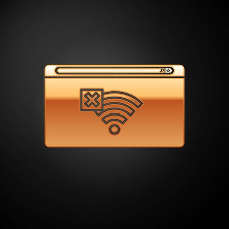 Gold No Internet connection icon isolated on black background. No wireless wifi or sign for remote internet access. Vector Illustration Vectores