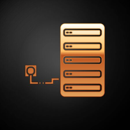 Gold Server icon isolated on black background. Adjusting app, service concept, setting options, maintenance, repair, fixing. Vector Illustration