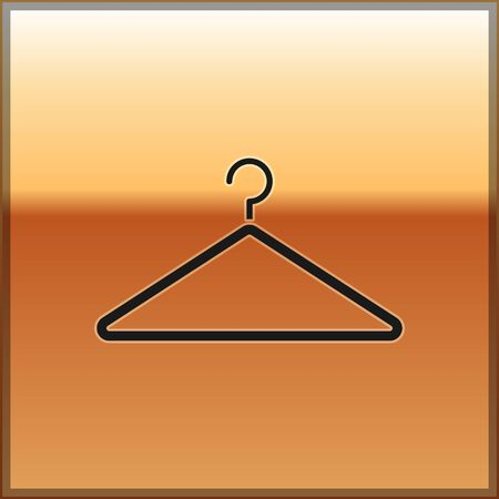 Black Hanger wardrobe icon isolated on gold background. Cloakroom icon. Clothes service symbol. Laundry hanger sign. Vector Illustration