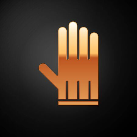 Gold Leather glove icon isolated on black background. Vector Illustration