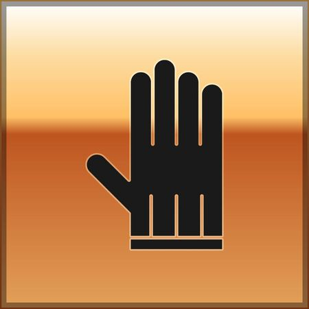 Black Leather glove icon isolated on gold background. Vector Illustration 일러스트