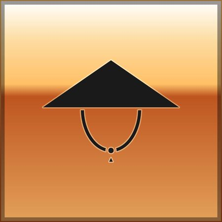 Black Asian conical hat icon isolated on gold background. Chinese conical straw hat. Vector Illustration