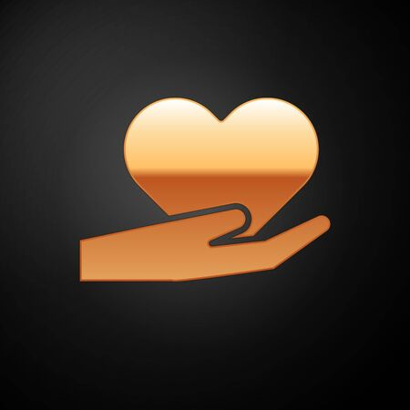 Gold Heart on hand icon isolated on black background. Hand giving love symbol. Valentines day symbol. Vector Illustration