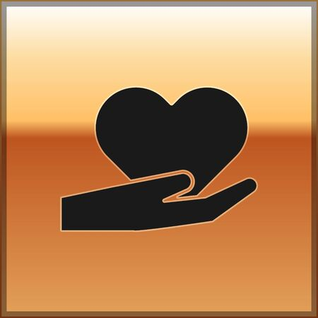 Black Heart on hand icon isolated on gold background. Hand giving love symbol. Valentines day symbol. Vector Illustration Çizim