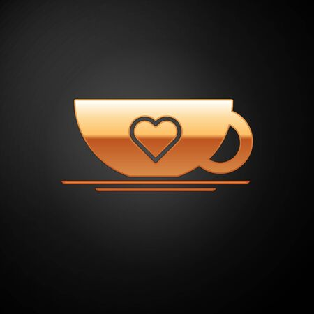 Gold Coffee cup and heart icon isolated on black background. Couple coffee for lovers on Valentines Day. Vector Illustration Vetores