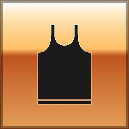 Black Sleeveless T-shirt icon isolated on gold background. Vector Illustration