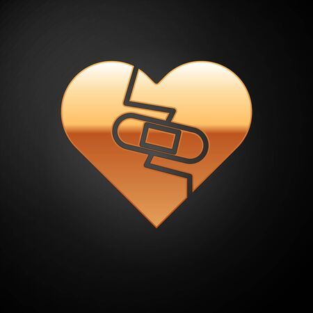 Gold Healed broken heart or divorce icon isolated on black background. Shattered and patched heart. Love symbol. Valentines day. Vector Illustration Ilustração