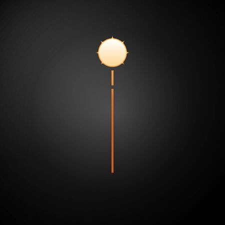 Gold Medieval chained mace ball icon isolated on black background. Medieval weapon. Vector Illustration