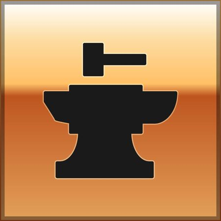 Black Anvil for blacksmithing and hammer icon isolated on gold background. Metal forging. Forge tool. Vector Illustration
