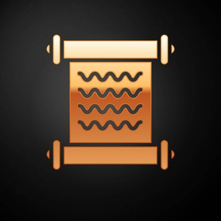 Gold Decree, paper, parchment, scroll icon icon isolated on black background. Vector Illustration