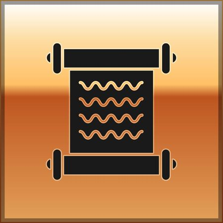 Black Decree, paper, parchment, scroll icon icon isolated on gold background. Vector Illustration Ilustração