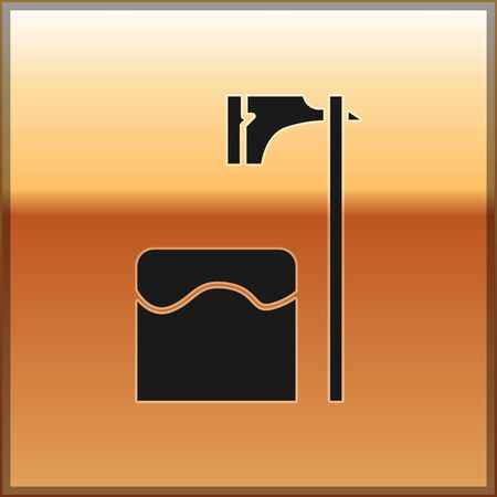 Black Executioner axe in tree block icon isolated on gold background. Hangman, torturer, executor, tormentor, butcher, headsman. Vector Illustration Иллюстрация
