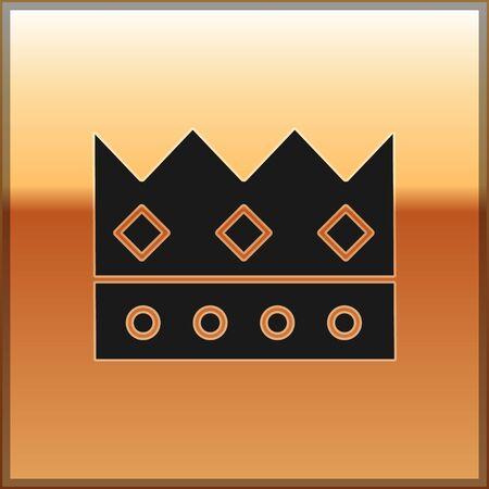 Black King crown icon isolated on gold background. Vector Illustration Ilustração