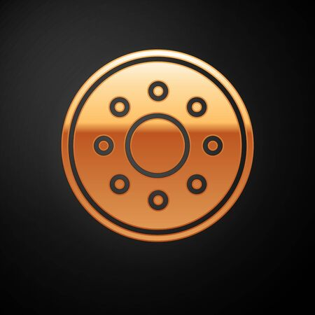 Gold Round wooden shield icon isolated on black background. Security, safety, protection, privacy, guard concept. Vector Illustration