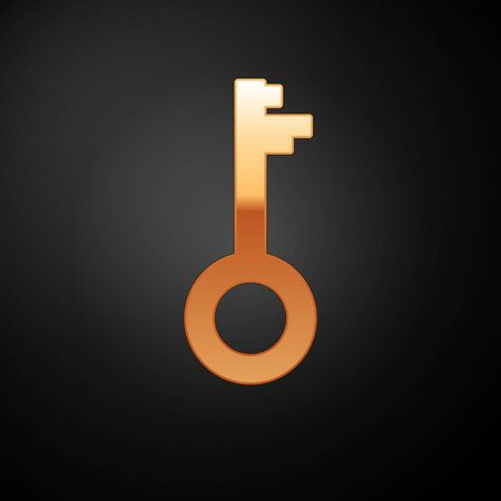 Gold Old key icon isolated on black background. Vector Illustration Illustration