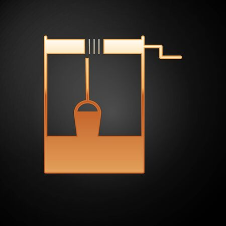 Gold Well with a bucket and drinking water icon isolated on black background. Vector Illustration  イラスト・ベクター素材