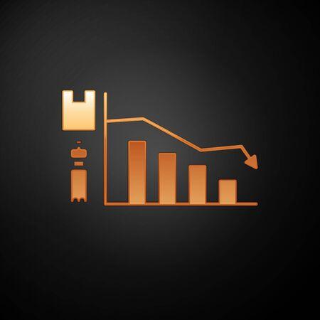 Gold Ecology infographic icon isolated on black background. Vector Illustration Illustration