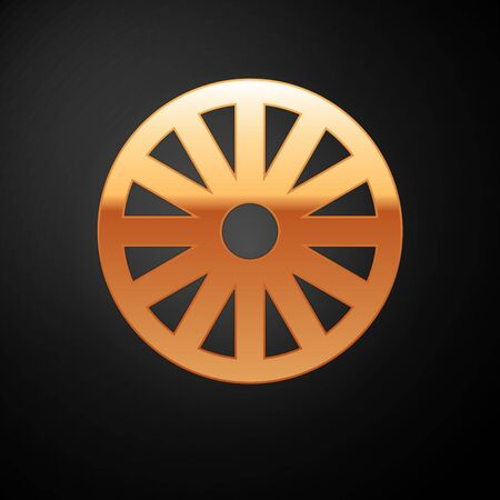 Gold Old wooden wheel icon isolated on black background. Vector Illustration