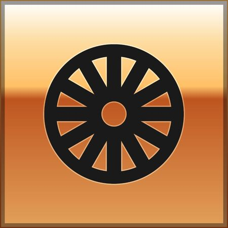 Black Old wooden wheel icon isolated on gold background. Vector Illustration Vettoriali