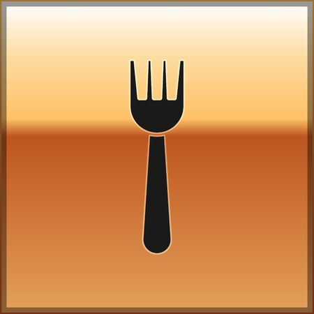 Black Disposable plastic fork icon isolated on gold background. Vector Illustration