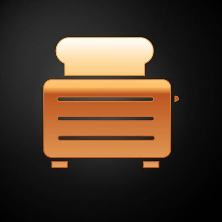 Gold Toaster with toasts icon isolated on black background. Vector Illustration